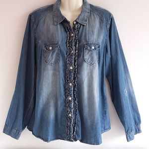 Maurices Distressed Denim Ruffle Front Shirt